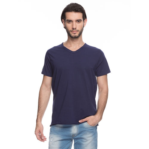 Solid V-Neck T-Shirt, xxl,  ink blue