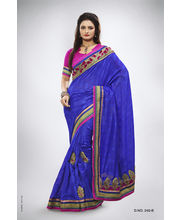 Meena Work With Velvet & Pearl Work Saree - 240_ B, Blue