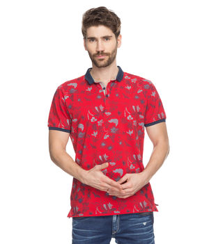 Printed Polo T-Shirt, m,  red