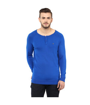 Light Knit Wear Stand Collar T Shirt,  royal blue, s