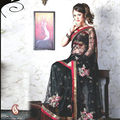 Women Net Black Saree