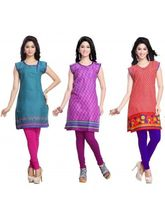 Trendbend Combo Of 3 Kurtis With Leggings, m, multicolor