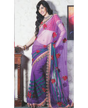 Women Net Purple Saree (Purple)