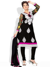 SHAH WAH Ready To Stitch Suit With Floral Embroidered Net Sleeves, black, fs