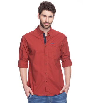 Solid Slim Fit Shirt, m,  brick red