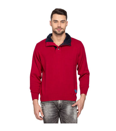 Solid Collar Neck Sweater,  red, l