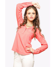Miss Chase Classic Zip Me Up Shirt (MCPF13TP02-09-80), Coral, L