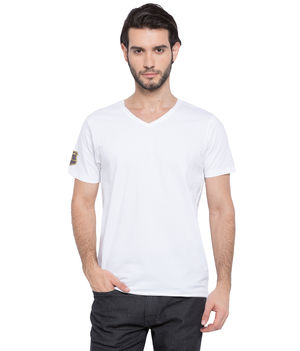 Solid V-Neck T-Shirt, s,  white