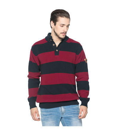 Striped Polo Sweater, m,  red/navy