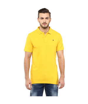 Solid Polo T-Shirt,  yellow, s