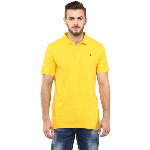Solid Polo T-Shirt, m,  yellow