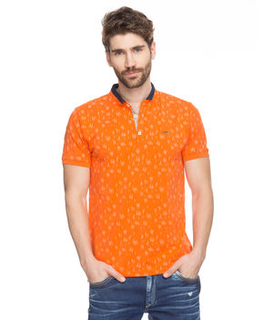 Printed Polo Stand Collar T-Shirt, m,  orange
