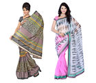Fabdeal Super Net & Silk Printed Saree Combo Of 2 (JJCR5763D8920RMVP), multicolor
