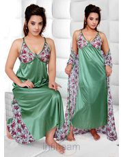 Gemini Printed Net Bra Cup Nighty With Printed Gown
