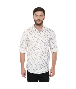 Printed Regular Slim Fit Shirt, m,  white