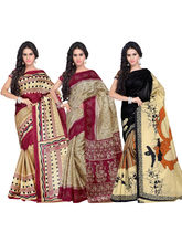 Shonaya Pack Of 3 Multicolour Silk Printed Saree, design6