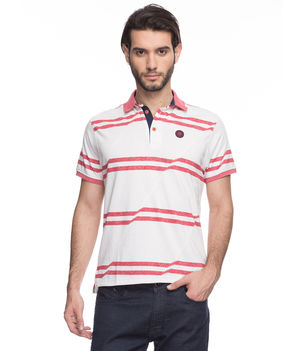 Striped Polo T-Shirt, s,  rust orange
