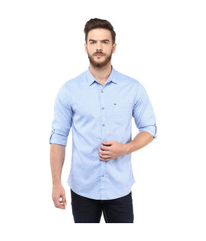 Printed Regular Shirt,  blue, l