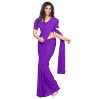 Vamika Faux Georgette Plain Saree with Unstitched Blouse, purple