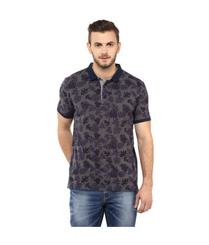 Printed Polo T Shirt,  grey, xxl