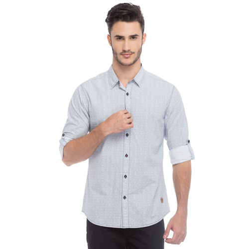 Printed Regular Slim Fit Shirt, s,  white