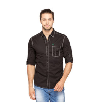 Solid Regular Slim fit shirt, m,  black