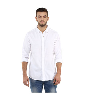 Solid Regular Shirt, l,  white