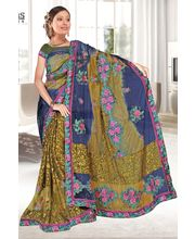 Heavy Net Cut Paste Designer With Blouse By Ragini Sarees - Blueberry, Multicolor