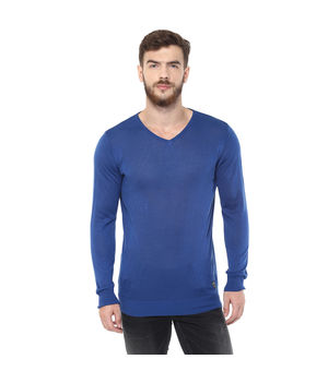 Light Knit Wear V Neck T Shirt, m,  blue