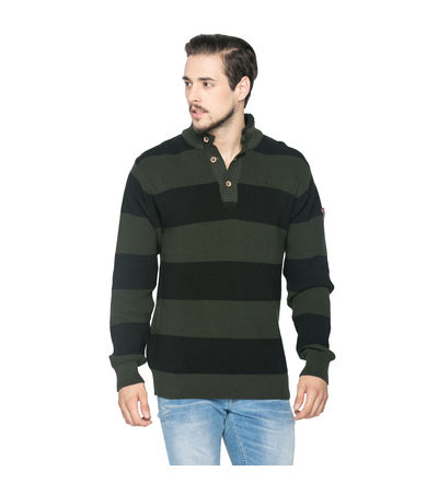 Striped Polo Sweater, m,  olive/black