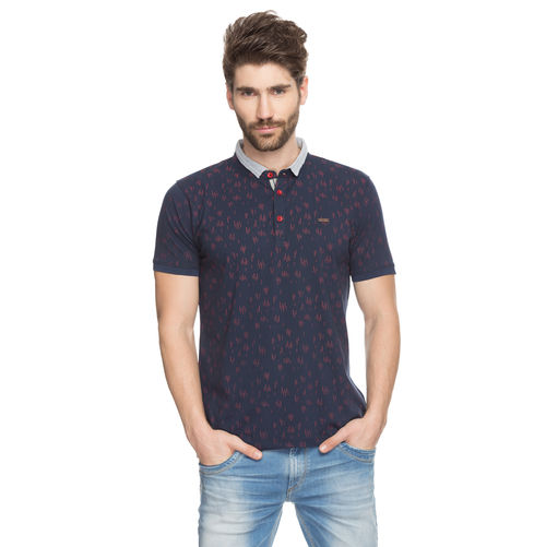 Printed Polo Stand Collar T-Shirt, xxl,  navy blue