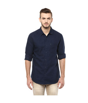 Solid Regular Shirt,  navy, l