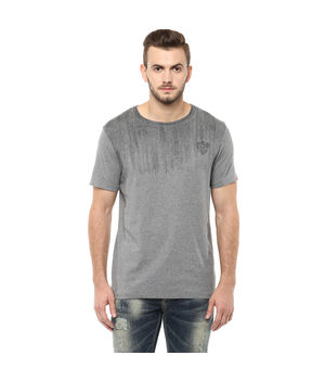 Printed Round Neck T-Shirt, s,  grey