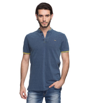 Printed Polo Stand Collar T-Shirt, s,  light blue