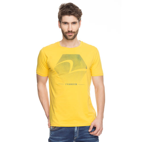 Printed Round Neck T-Shirt,  yellow, xl