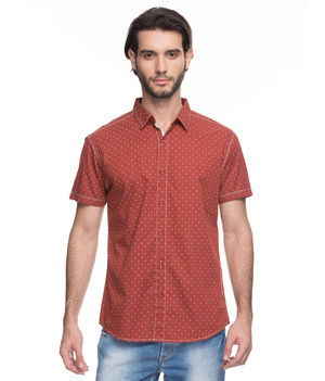 Printed Regular Slim Fit Shirt, s,  rust orange