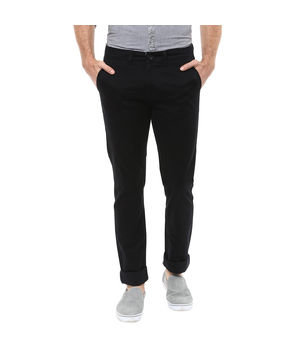 Cross Pocket Slim Fit Trousers, 36,  black