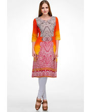 Shakumbari Traditional Cotton Kurti, Orange, Xl
