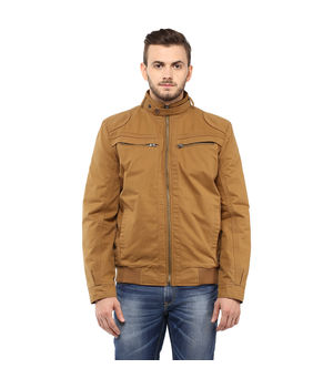 Regular Solid Jacket,  khaki, l