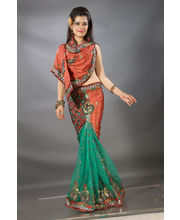Net Cut Paste Lengha Style Ready To Wear Saree...