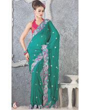 Persian Green Faux Georgette Cut work border Saree (Green)