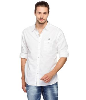 Solid Regular Slim fit shirt, l,  white