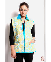 Floral Printed Jaipuri Quilted Pure Cotton Jacket (Multicolor, L)