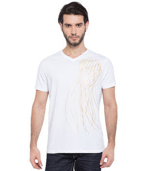 Printed V-Neck T-Shirt, l,  white