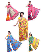 Ishin Combo of 5 printed saree, multicolor