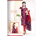 Zadine Collection Maroon Color Cotton Printed Dress Material (Multicolor)
