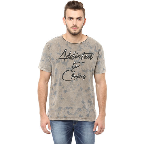 Printed Round Neck T-Shirt, xl,  beige