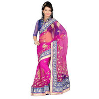 Vamika Net Women's Saree,  pink