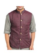 Sobre Estilo Linen Nehru Jacket For Men, l, design2