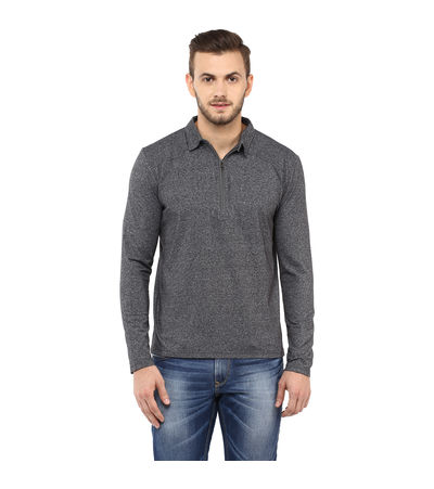 Solid Polo T Shirt, m,  anthra